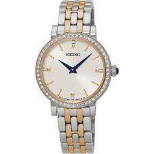 Seiko SFQ810P1 Ladies Rose Gold Tone & Stainless Steel Swarovski Watch RRP £279