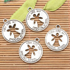 20Pcs  tibetan silver tone 18mm round YOU ARE MY SPECIAL ANGEL charms H0592