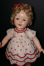 "CLEARANCE SALE Vintage Composition 20"" Ideal Shirley Temple Doll Tagged Dress"