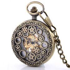 Vintage Bronze Skeleton Windup Mechanical Pocket Watch Chain Steampunk Men Gift