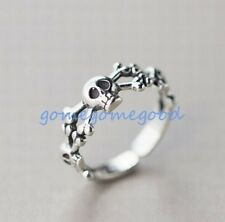 925 Sterling Silver - Size 6 Retro Punk Skull Bone Party Club Women Open Ring