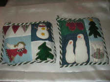 5 Pc Lot Quilted Pillow Snowmen Angel Hearts Christmas Tree Ornaments Decor New