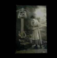 Religious Vintage Postcard of a Woman visiting a Shrine