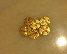 1(ONE) x 0.13 Gram 24K 999 Pure Solid Gold Mini Fantasy Coin Hammered Shape.