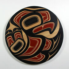 "Northwest Coast Native Red Cedar Panel Wall Hanging 18"" Round Haida Colours"