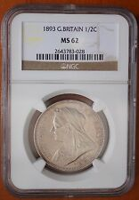1893 UK Great Britain Half Crown KM# 782 Silver NGC MS62 Victoria Halfcrown