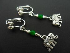 A PAIR TIBETAN SILVER DANGLY ELEPHANT & GREEN JADE BEAD CLIP ON  EARRINGS. NEW.