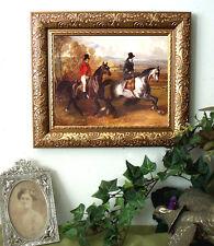 Gentleman n Sidesaddle Lady DeDreux Horse Print Antique Vintage Framed