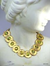 Vintage HEAVY WIDE CLEOPATRA Abalone Shell HAUTE COUTURE High End NECKLACE