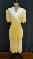 Vintage 80's Leslie Fay 12 Petite Yellow and White Gingham Check S Sl Dress
