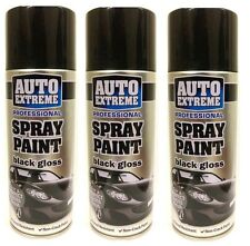 3 x 400ml NERO LUCIDO AUTO EXTREME Aerosol Spray Lattina Auto Furgoni Auto Vernice Spray