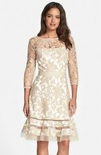 Tadashi Shoji Embroidered Lace Overlay Dress 8 Sand New