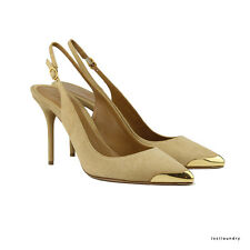 Alexander McQueen Biscuit Gold Capped-Toe Suede Slingback Pumps Shoes IT40 UK7