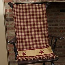 Primitive Country Rustic Cranberry & Tan Check / Star Throw