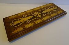 Huge Antique English Inlaid Walnut Cribbage Board c.1880