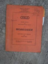 1951 Yale Worksaver Electric Lift Truck Spare Parts Maintenance Data Manual  U