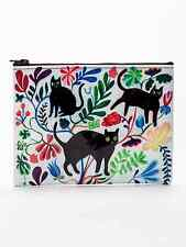 """Blue Q """"Here Kitty"""" large zipper pouch recycled black cats by Martha Rich"""