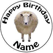 """Explotación De Cumpleaños Personalizados-ovejas Redondo 8"""" fácil Precortada Glaseado Cake Topper"""