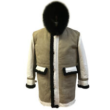 MEN'S MULTI-COLOR GENUINE SUEDE SHEARLING COAT, LEATHER TRIMMING, FOX, SIZE 3XL