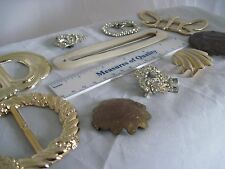 Belt Buckle lot of 10 Mother of Pearl MOP brass plastic Rhinestone old or new B1
