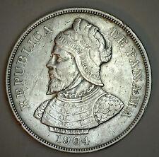 1904 Silver Panama Half Balboa Cinquenta Centesimos Coin XF