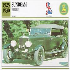 1925-1930 SUNBEAM 3-Litre Sports Classic Car Photo/Info Maxi Card