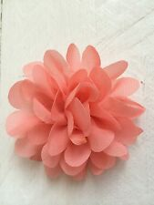 Coral Hair Clip Chiffon Flower Girl Bridesmaid Wedding Prom Races Fascinator