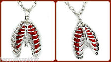 Anatomical Human Rib Cage Lung Anatomy Necklace Skeleton Goth Punk Deathrock Emo