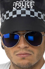 Pilotenbrille blau verspiegelt NEU - Zubehör Accessoire Karneval Fasching