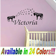 "Unicorn with name bedroom wall kids girls art decor decal HUGE 24"" x 12"""