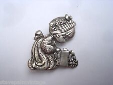 Mexican Jewelry Sterling Silver Brooch Pin Signed PM Child Watering Can 01027