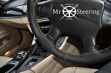 FITS HYUNDAI TUCSON MK1 PERFORATED LEATHER STEERING WHEEL COVER YELLOW DOUBLE ST
