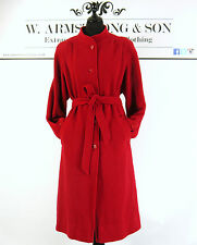 Women's Vintage 80's Red Trench Mac Oversized Belted Bold Smart Wool Coat UK M