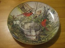 Franklin Mint Collector Plate The Old Wooden Bucket Cardinals by Cecil Eakins
