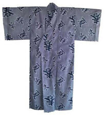 "Japanese Men's Cotton 58""L Yukata Kimono Four Seasons Calligraphy, Made in Japan"