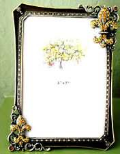 Browns/Ambers PICTURE FRAME, Enamel Crystal Solid Pewter Gold Tone, 5x7