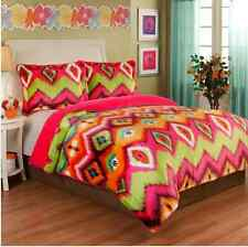 FULL/QUEEN Girls 3pc PLUSH VELVET BEDDING SET Pink Green Tie Dye Teen Comforter
