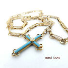 Antique VICTORIAN c1880 Turquoise & Pearl 15k Gold CROSS Pendant ORNATE NECKLACE