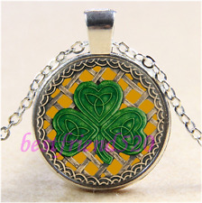 Gold Shamrock And Celtic Knots Cabochon Glass Tibet Silver Pendant Necklace#G10