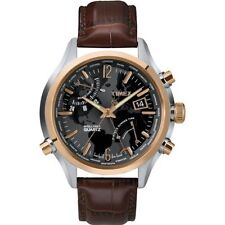 New Timex T2N942 IQ World Time Watch Brown Leather Indiglo Analog Traveler