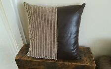 "6 22"" x 22"" Nutmeg Jumbo Cord with Brown Faux Leather Cushion Covers"