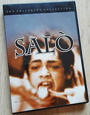 Salo - The 120 Days of Sodom (DVD, Criterion) 29 chapters, white ring, 1st print