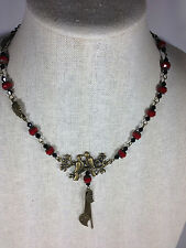 "Handmade Necklace Charm 18"" Vintage Brass Metal Ruby Red Crystal Love Birds"