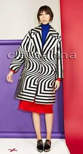 Dries Van Noten Crackled Silver Black Stripe Pattern Rhonda Oversized Coat 42