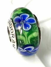 NEW Authentic Pandora 925 silver murano bead charm glass blue green flower