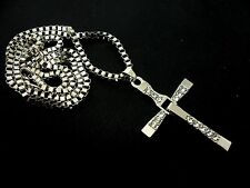 "A LOVELY STEEL &  CRYSTAL CROSS/CRUCIFIX NECKLACE ON 24"" CHAIN. NEW."