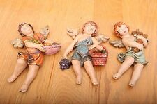 3 Vintage Porcelain Angel Cherub Figurines Wall Hanging