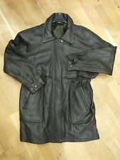 Vintage Leather Jacket in Green by Time & Silver in Men's Size Small Mid Length