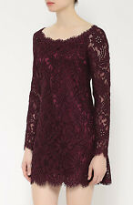 New DOLCE & GABBANA Maroon Lace Floral Scalloped Mini Dress 40