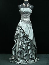 Cherlone Plus Size Satin Grey Lace Prom Ball Gown Wedding/Evening Dress UK 24-26